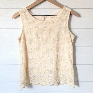 Madewell Ivory Lace Sleeveless Tank Top S